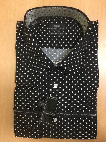 Men's Steven Land Sport Shirt Polka Dot Dress Shirt - Black and White (Big & Tall)