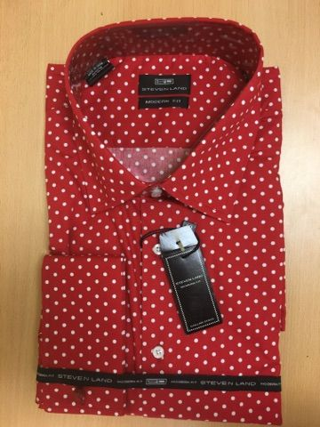Men's Steven Land Sport Shirt Polka Dot Dress Shirt - Red and White (Big & Tall)