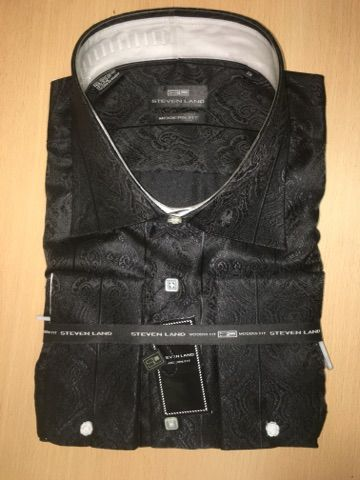 Men's Steven Land Sport Shirt Luxurious Paisley Dress Shirt - Black (Big & Tall)