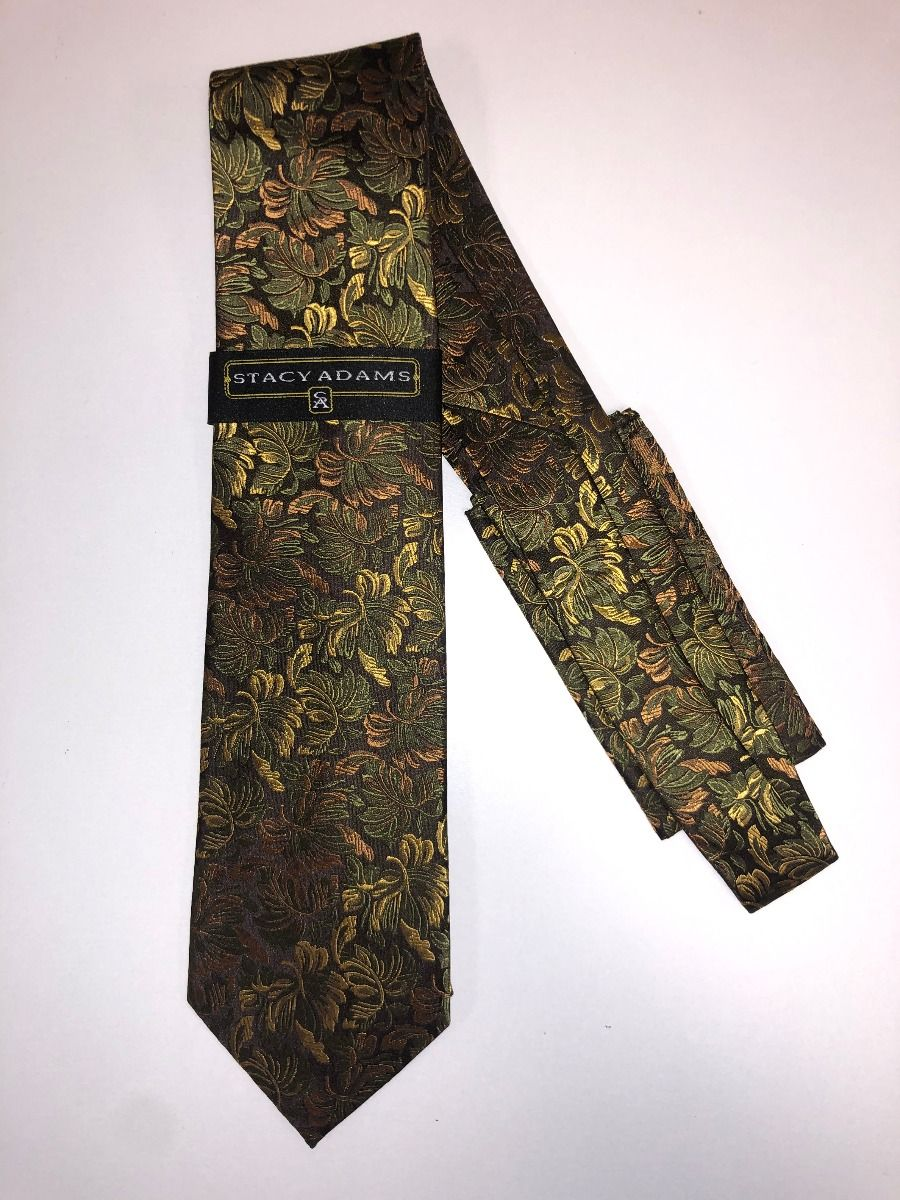 **Stacy Adams Premium Handmade Silk Neck Tie AND HANKY - Brown & Gold Floral