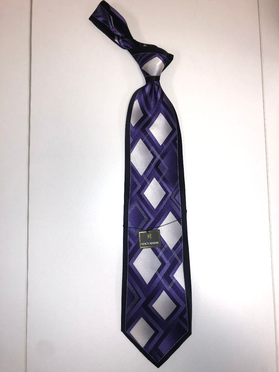 **Stacy Adams Premium Handmade Silk Neck Tie - Purple Diamond