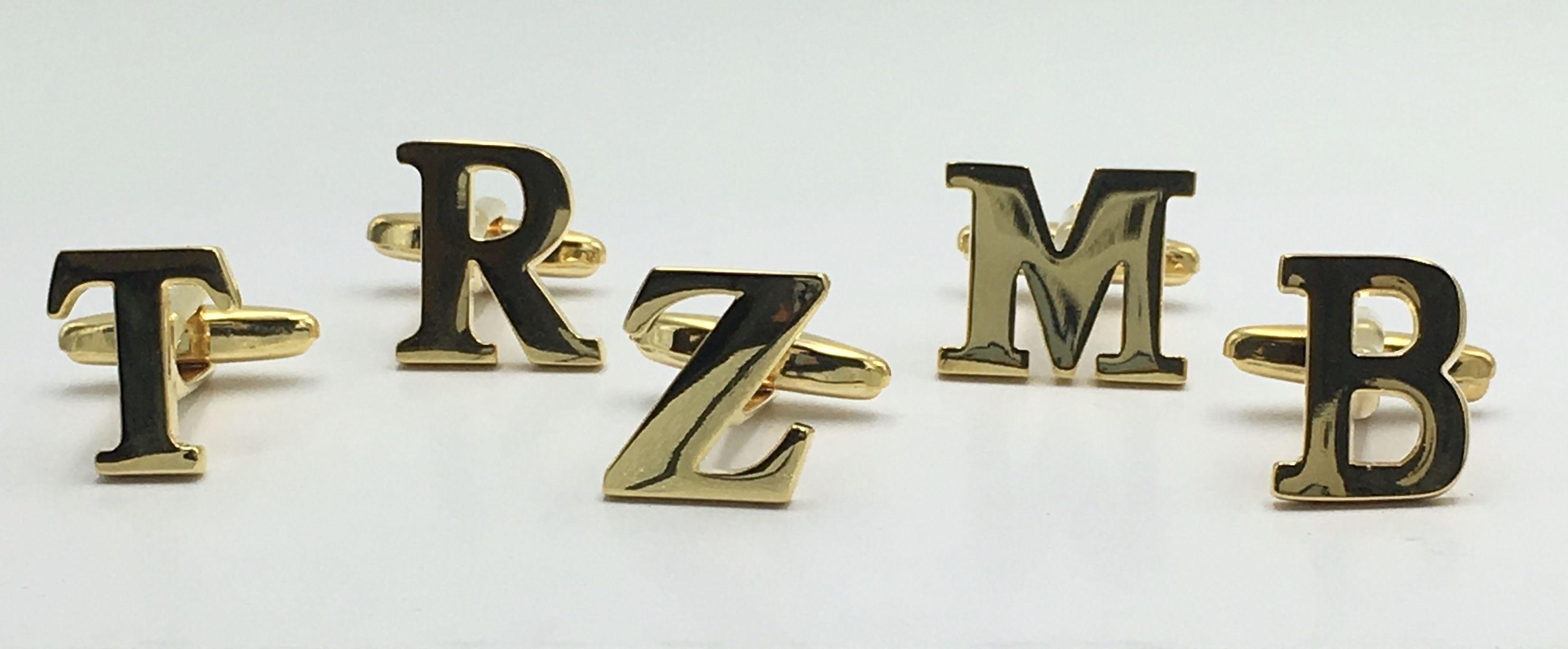 *2 Pc. Gold INITIAL Personalized Custom Cufflinks