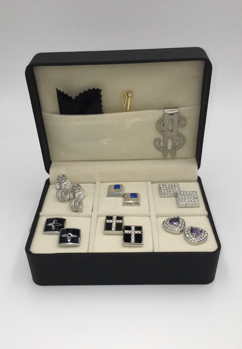 The Stone Box 6 Pairs of Cufflinks, Money Clip, Collar Bar
