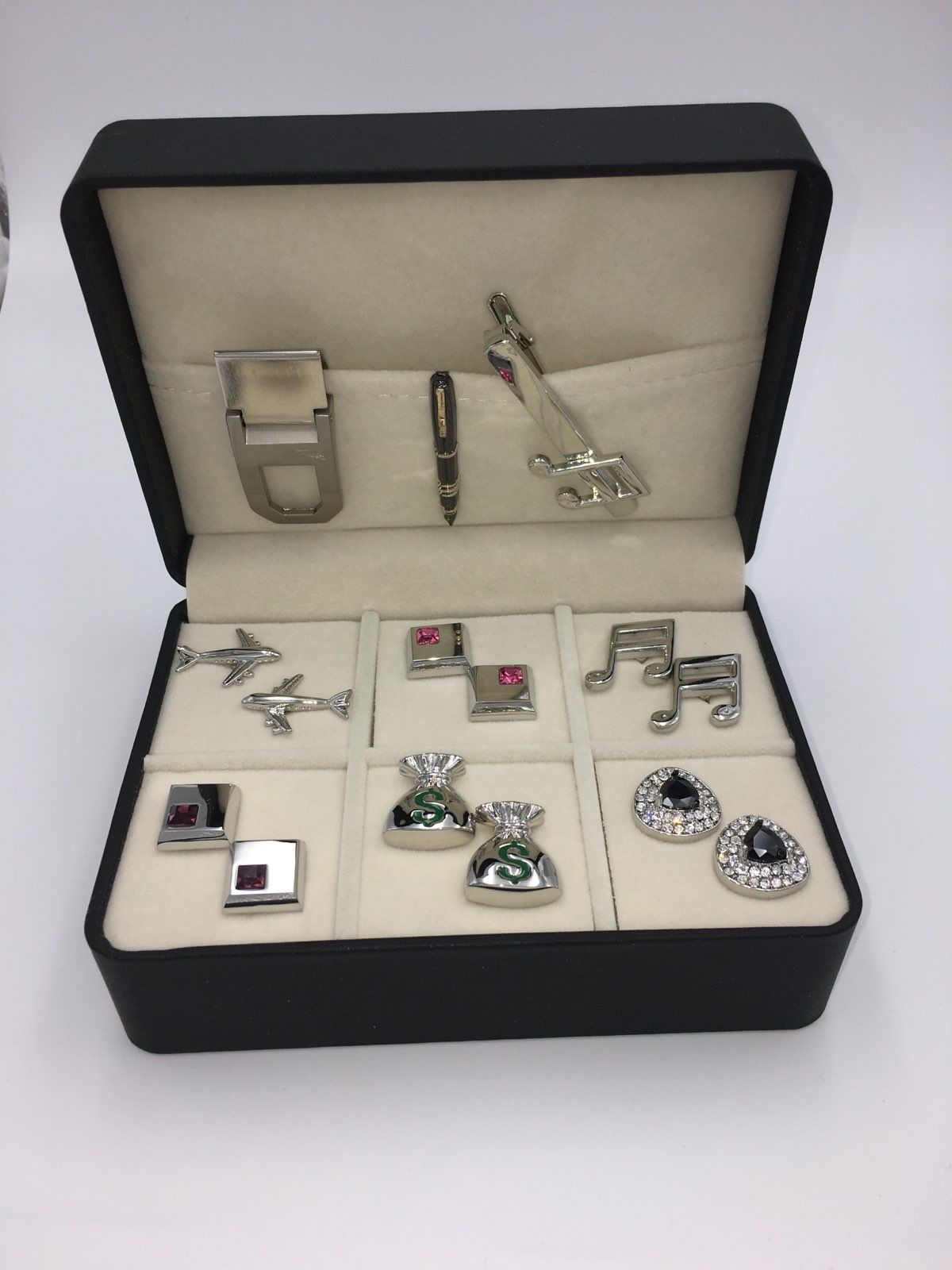The Lind Box 6 Different Pairs of Cufflinks, Money Clip and a Tie Bars