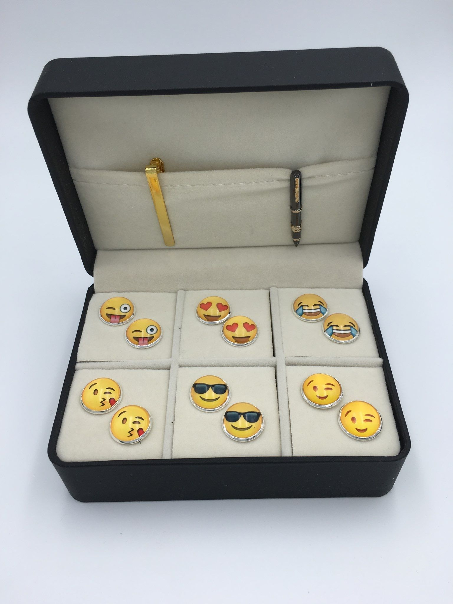 The Happy Box 6 Different Pairs of Cufflinks and 2 Tie Bars
