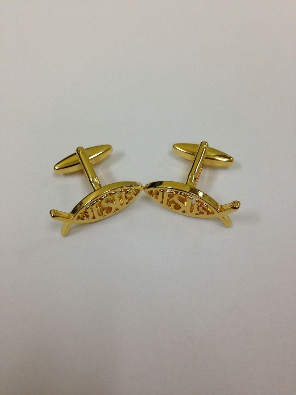 2 Pc. Gold Religious Jesus Fish Cufflinks