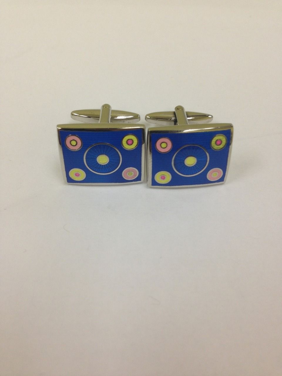 2 Pc. Blue Circle Crazy Design Cufflinks