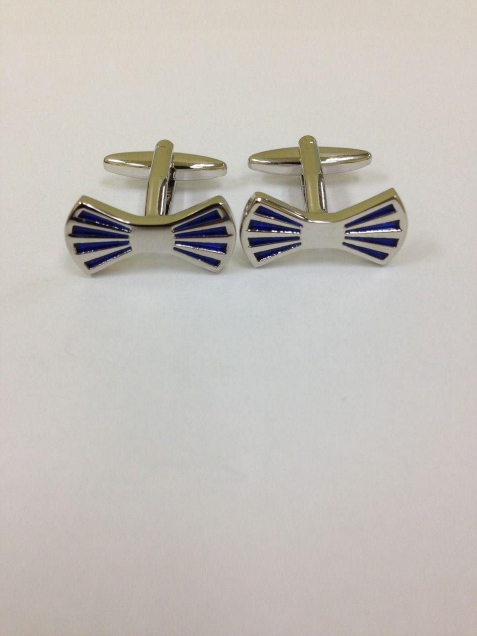 2 Pc. Blue Bow Tie Formal Fashion Design Cufflinks