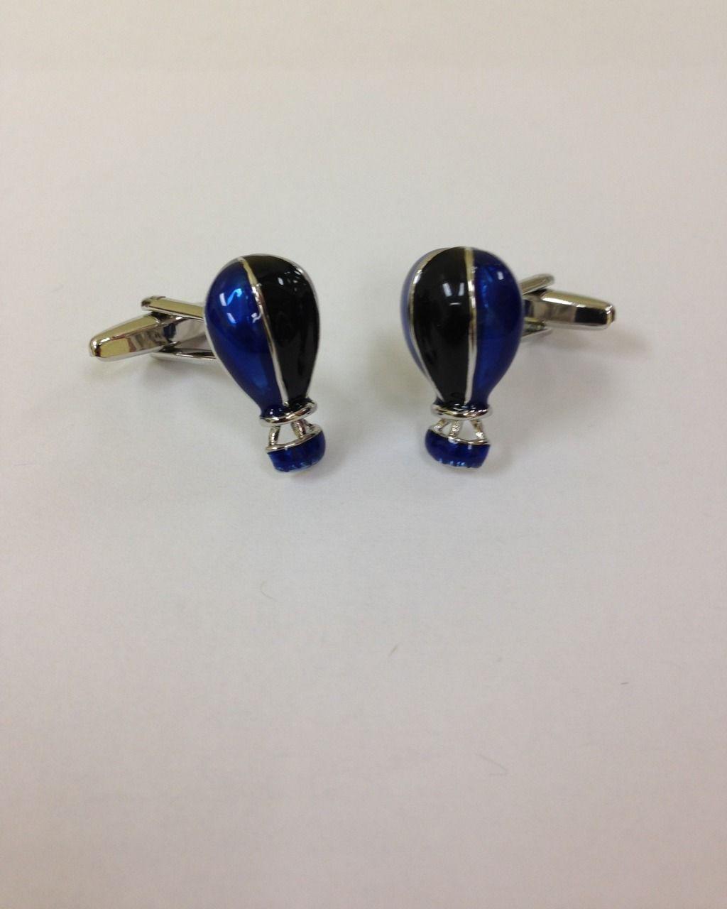 2 Pc. Silver/Blue Fun Hot Air Balloon Cufflinks