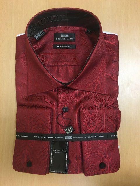 Men's Steven Land Sport Shirt Luxurious Paisley Dress Shirt - Maroon