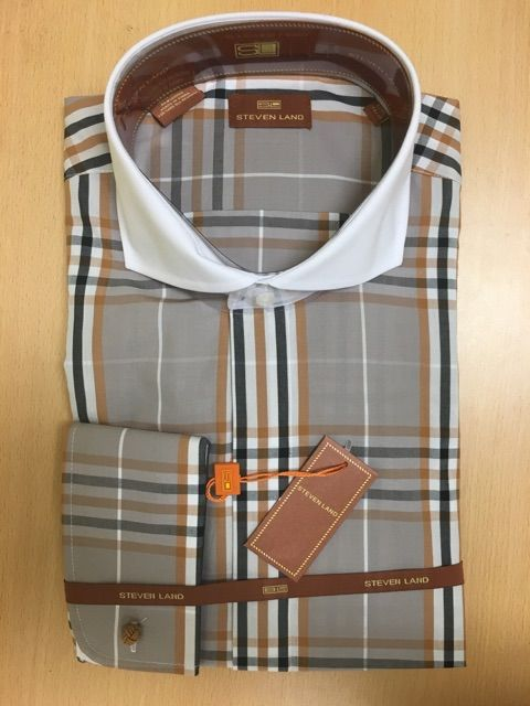 Men's Steven Land Plaid Windowpane Dress Shirt - Lion and Black