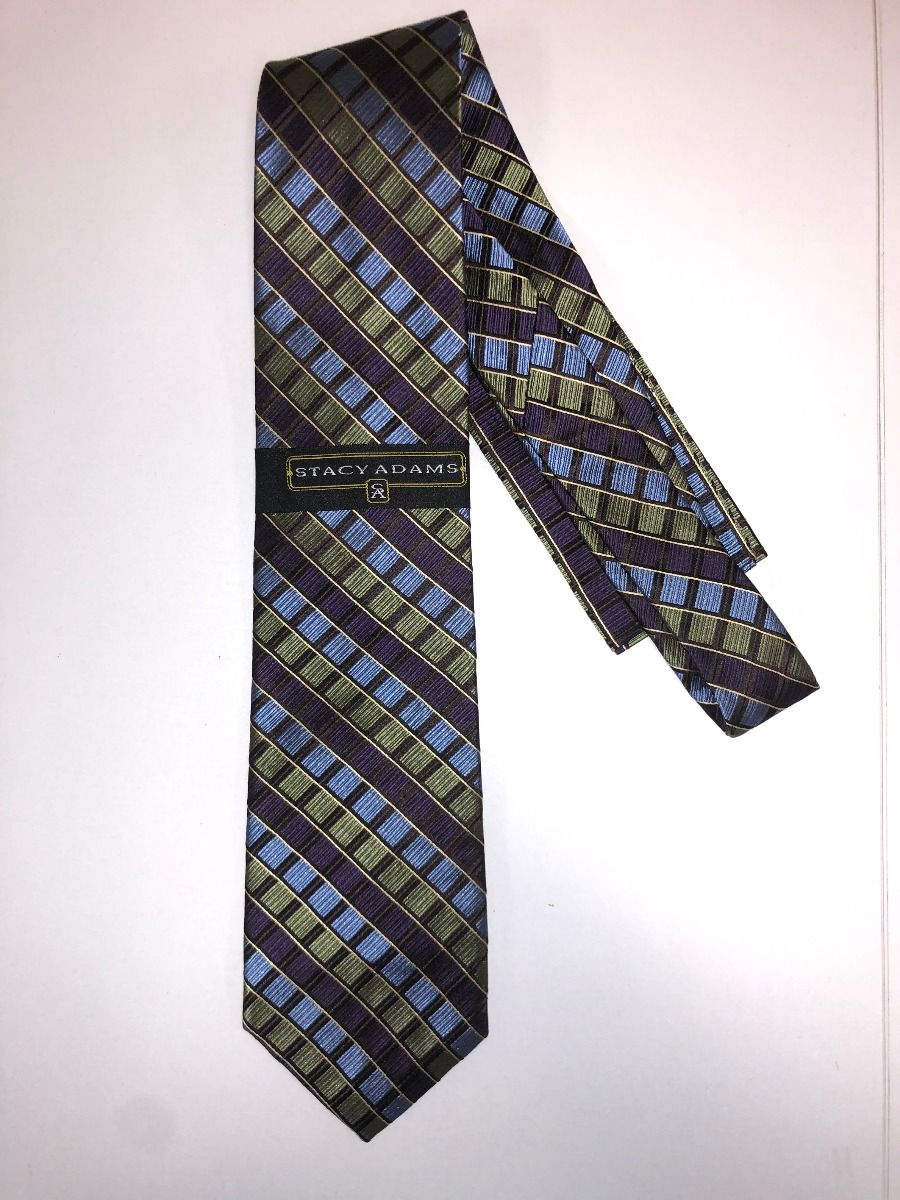 **Stacy Adams Premium Handmade Silk Neck Tie AND HANKY - Olive & Purple Squares