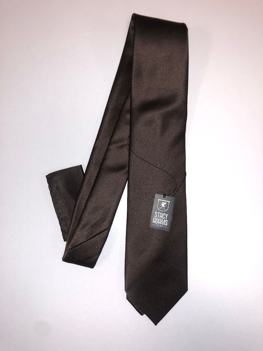 **Stacy Adams Premium Handmade Silk Slim Neck Tie AND HANKY - Solid Brown