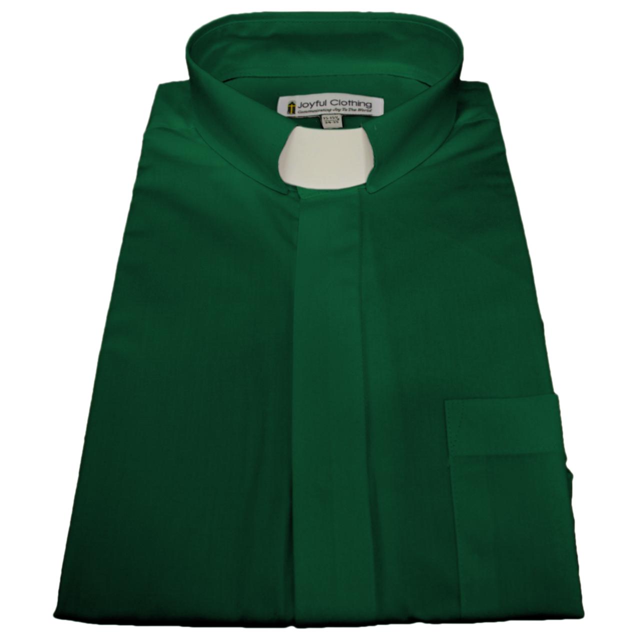 125. Men's Long-Sleeve Tab-Collar Clergy Shirt - Kelly Green