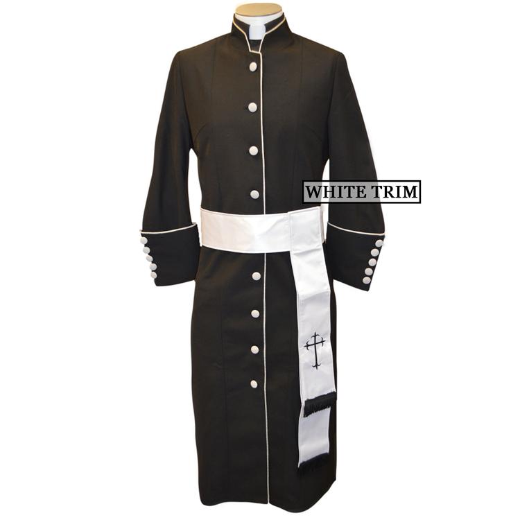 178 W. Women's Pastor/Clergy Robe - Black/White Cincture Set