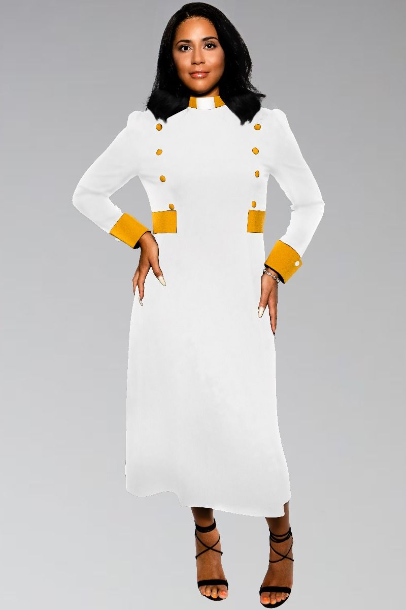 Custom Womens Clergy Dress in White and Gold Custom Contrast