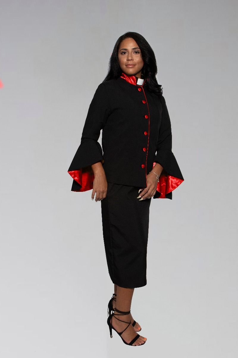 Women's Black and Red Clergy Preacher Suit with Open Sleeves and Tab Collar