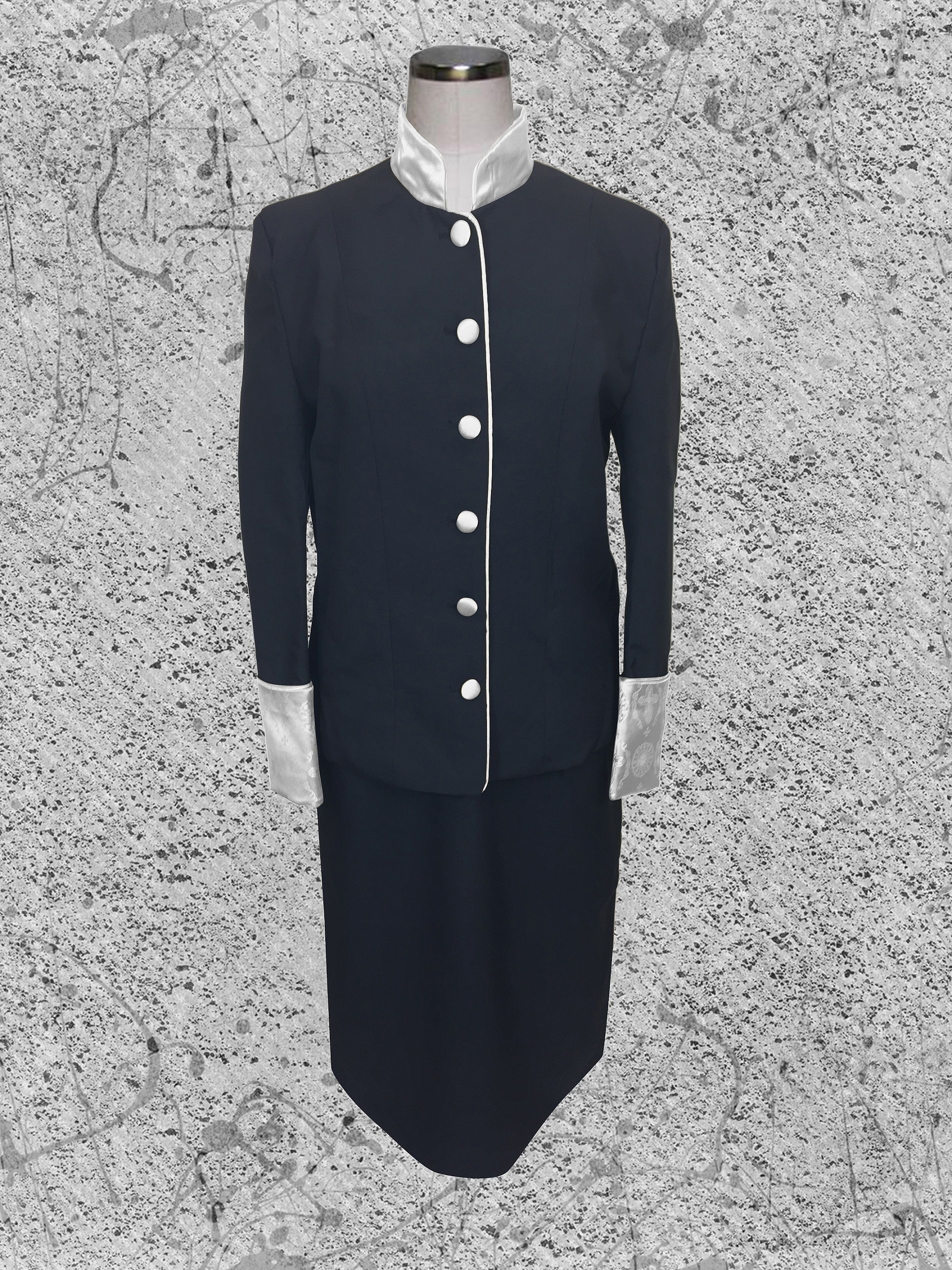 Black and White Clergy Suit for Women