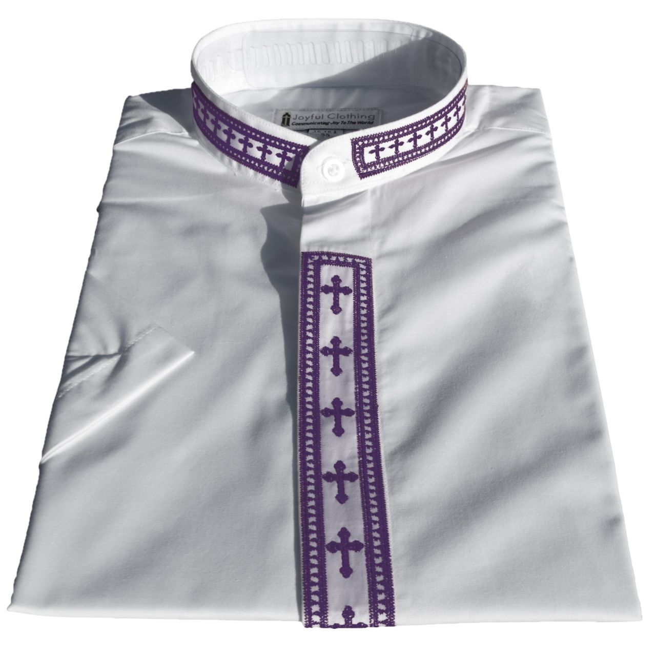 767. Women's Short-Sleeve Clergy Shirt With Fine Embroidery - White/Purple