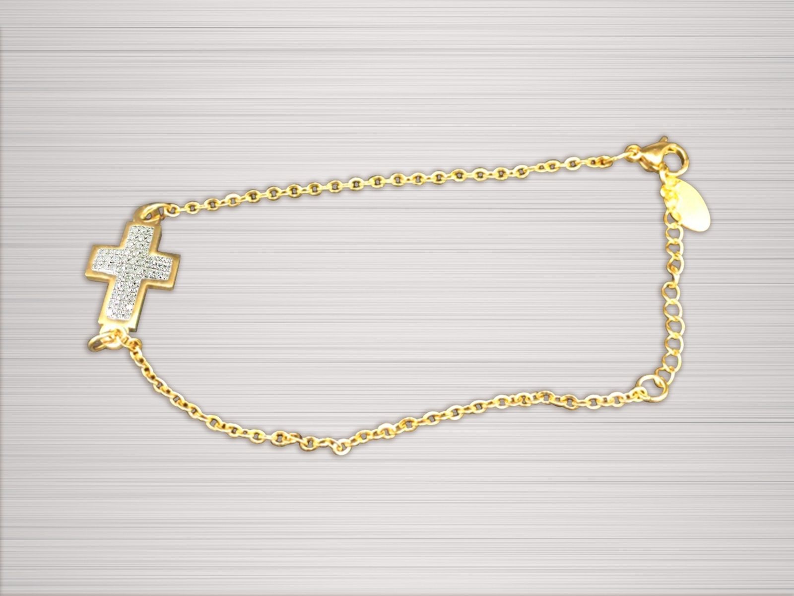 Women's Cross Chain Bracelet Gold and White Cross with Stones
