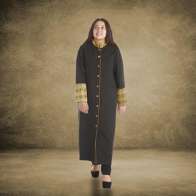 811 W. Women's Premium Clergy/Pastor Robe - Black/Gold with Fancy Pleats