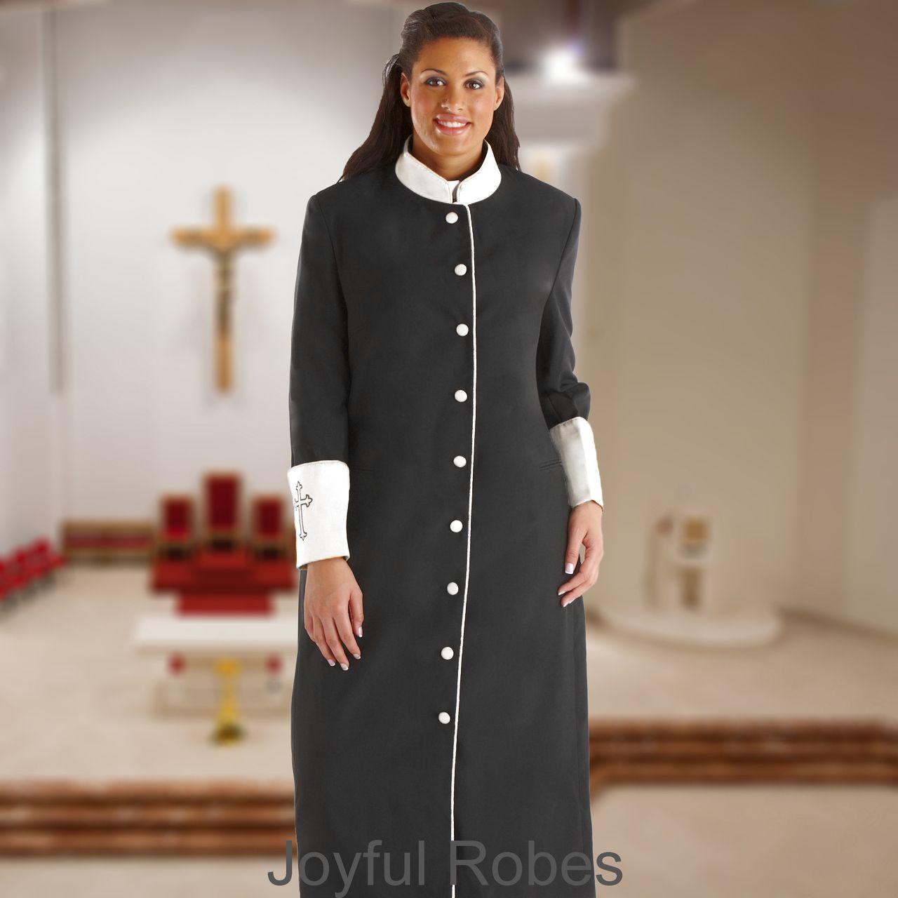 305 W. Women's Clergy/Pastor Robe - Black/White Cuff