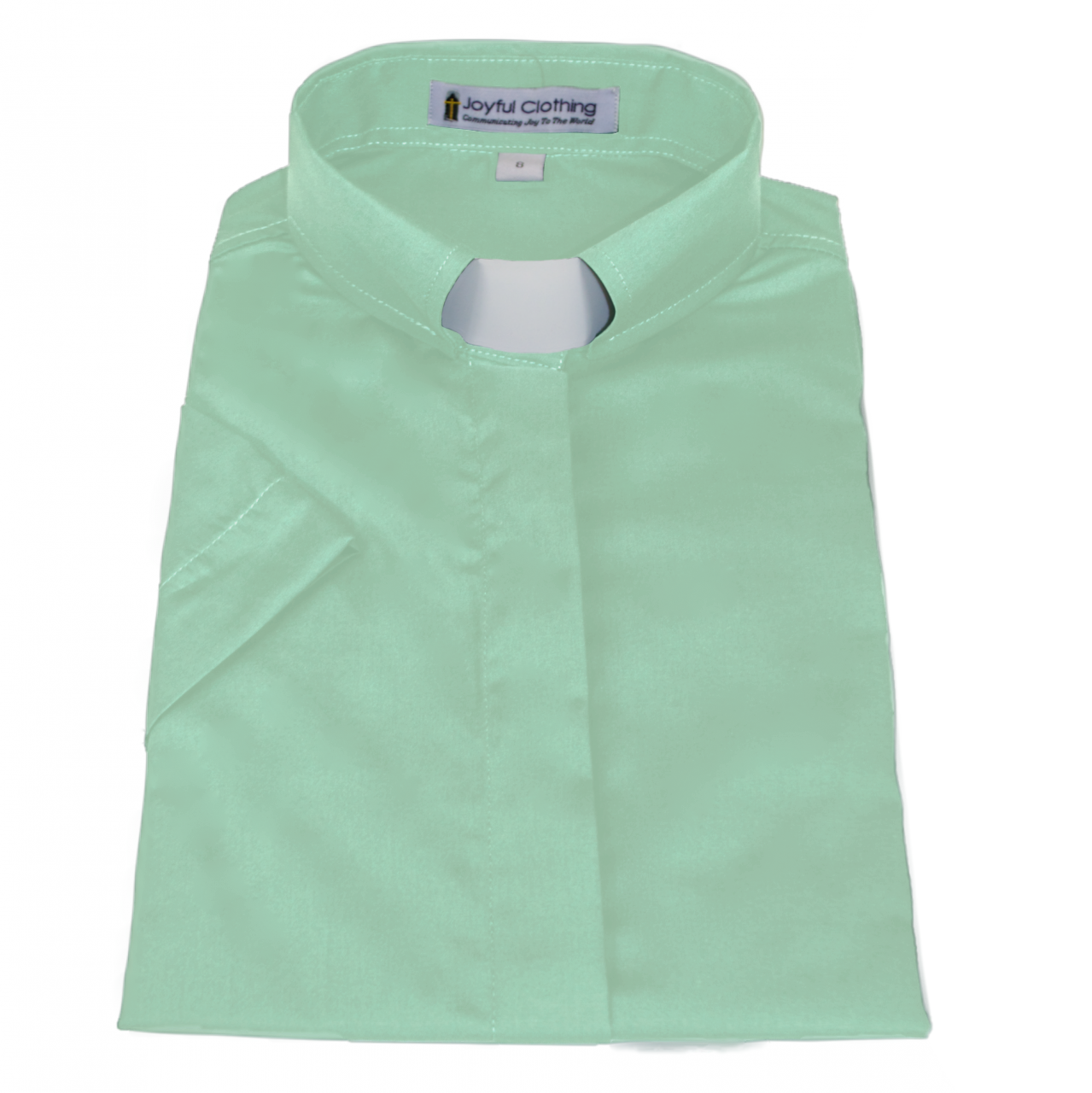 568. Women's Short-Sleeve Tab-Collar Clergy Shirt - Mint Green