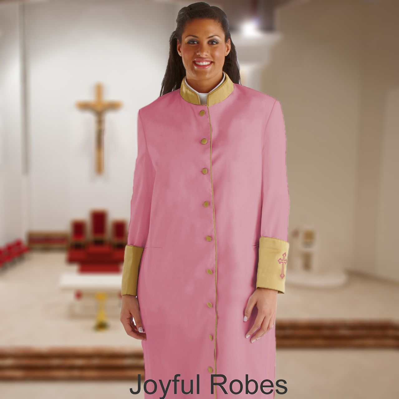 312 W. Women's Clergy/Pastor Robe Rose/Gold Cuff