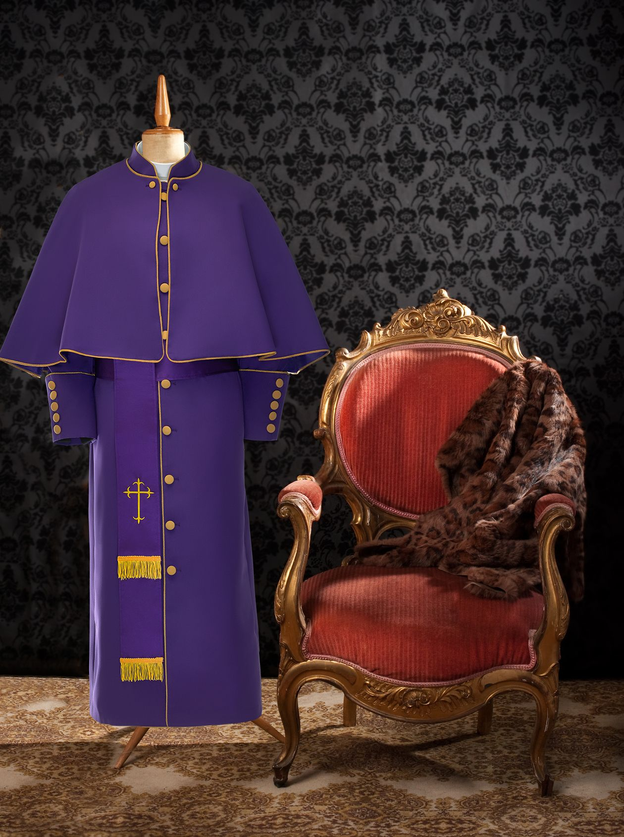 174 W. Limited Exclusive Women's Pastor/Clergy Robe Purple/Gold Luxury Ensemble