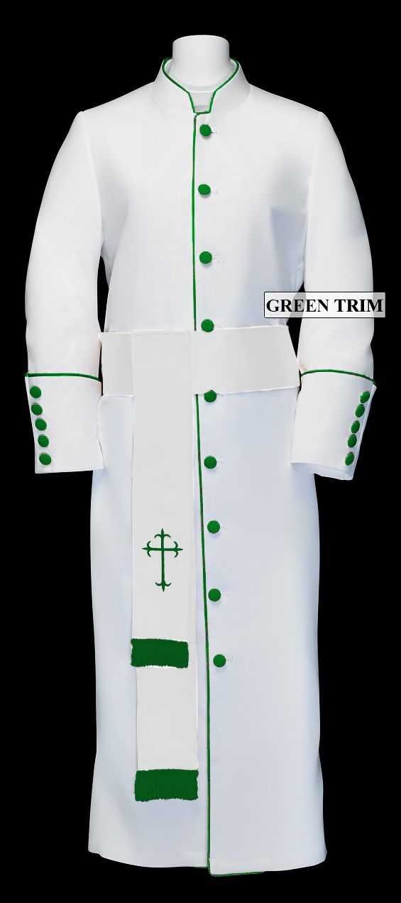 193 M. Men's Pastor/Clergy Robe - White/Emerald Matching Cincture Set