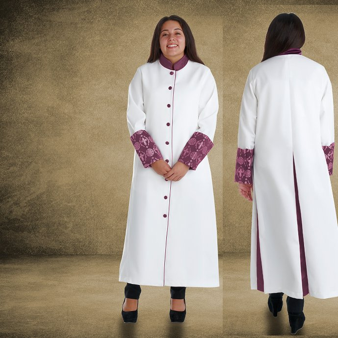 814 W. Women's Premium Clergy/Pastor Robe - White/Purple with Fancy Pleats