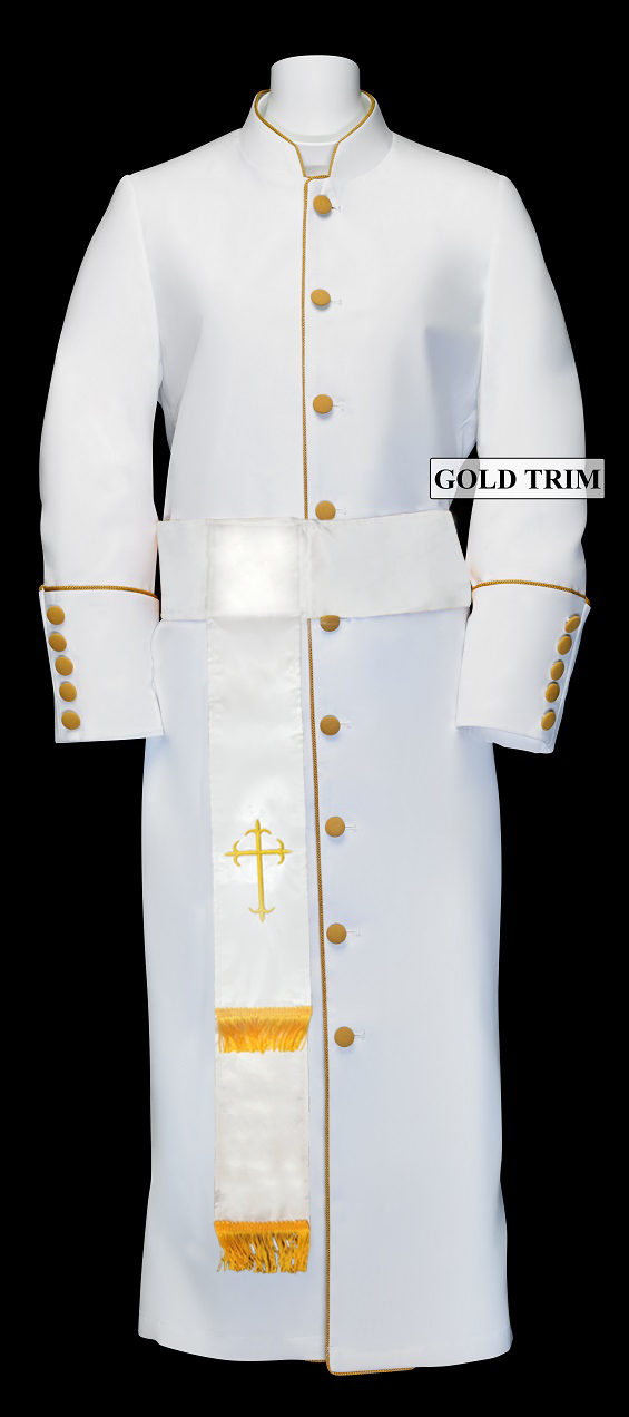 182 W. Women's Pastor/Clergy Robe - White/Gold Cincture Set