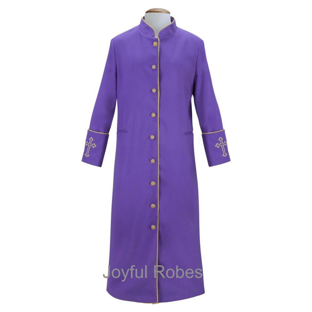 207 W. Women's Clergy/Pastor Robe Purple/Gold Design