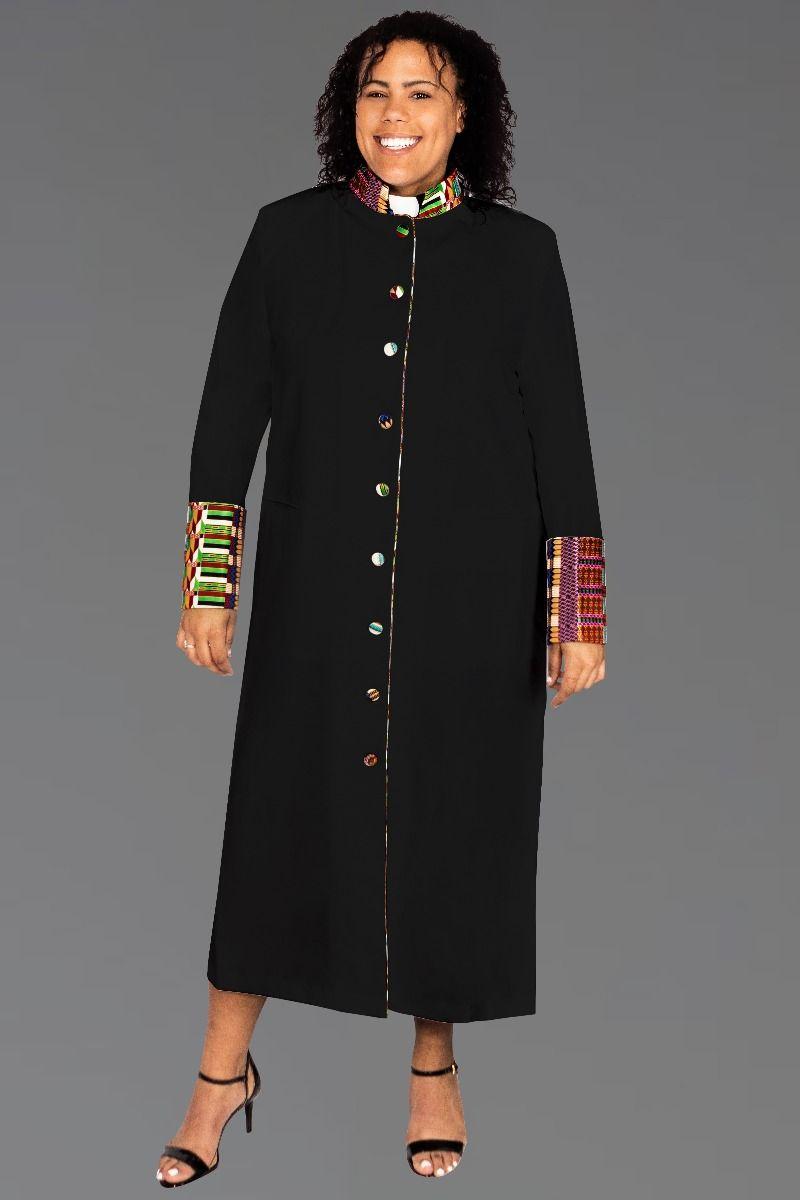 Ladies Kente African Clergy Robe Black