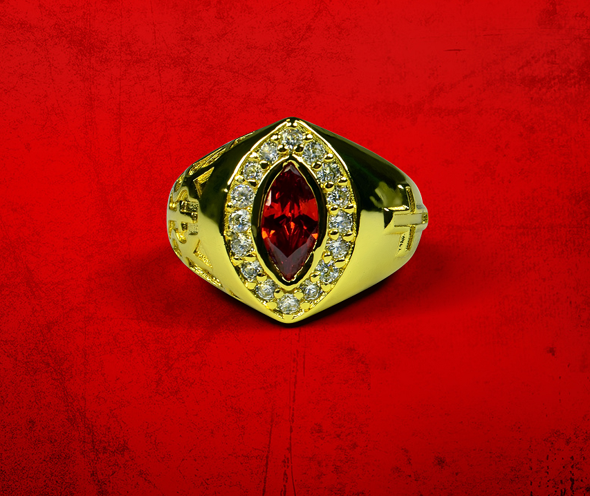 Womens Premium Clergy Ring with Red Stone - Gold w/ Red