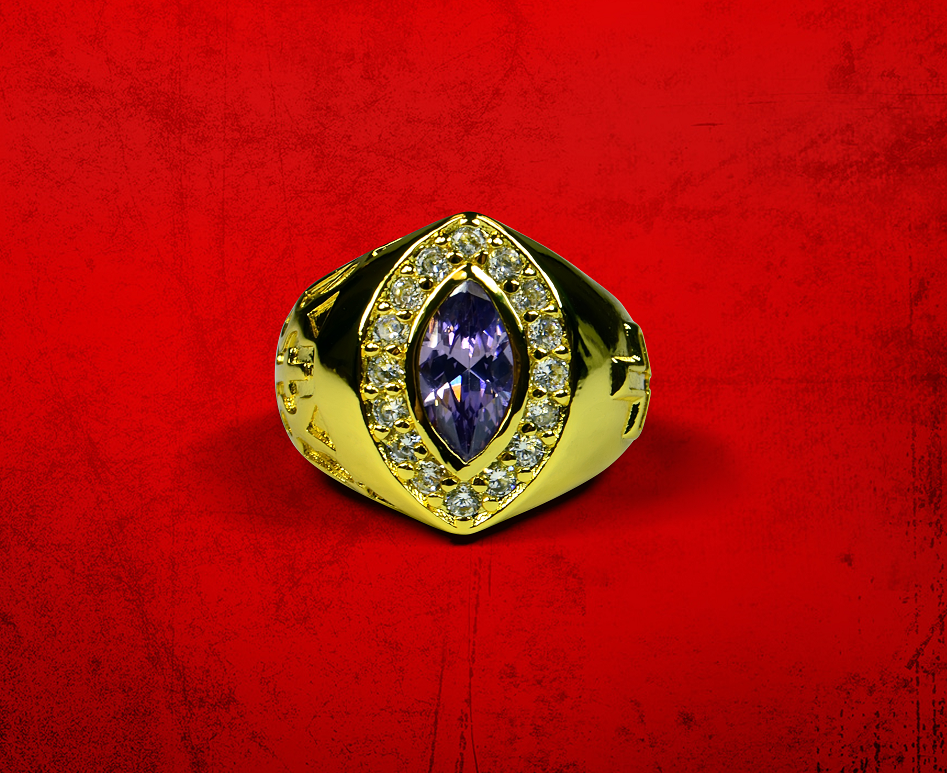Womens Premium Clergy Ring with Purple Stone - Gold w/ Purple