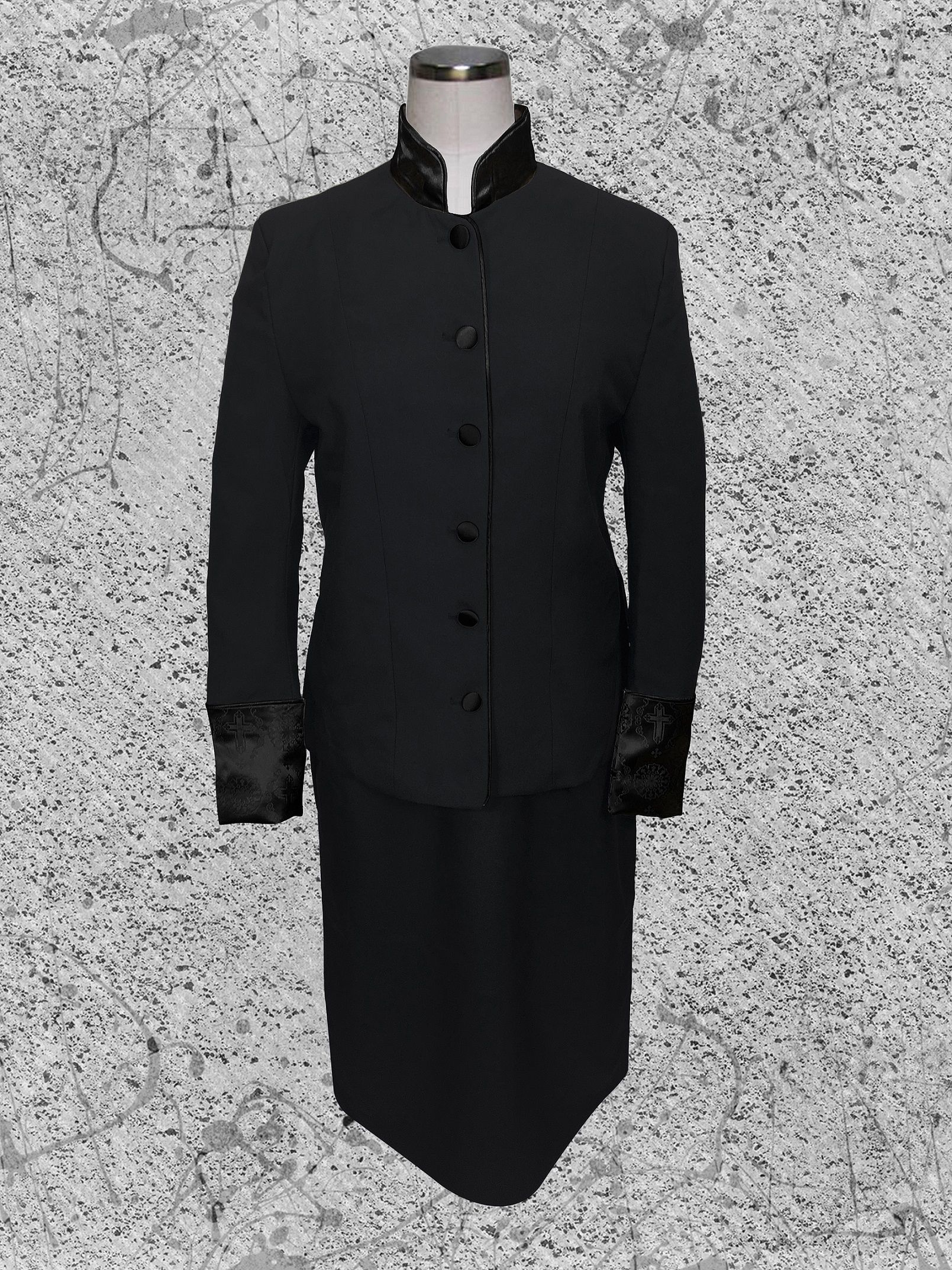 731 W. Women's 2 Pc. Clergy Suit Black with Double Tone Black Brocade