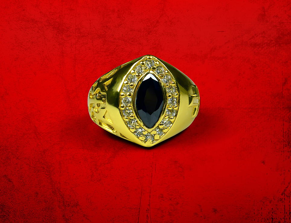 Womens Premium Clergy Ring with Black Stone - Gold w/ Black