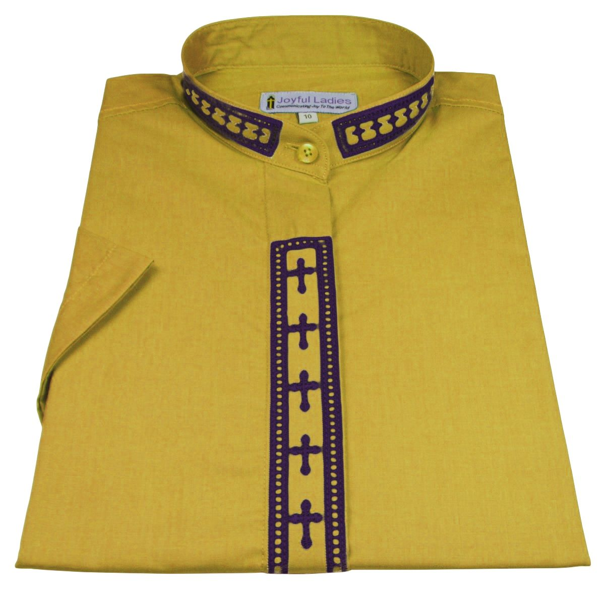 770. Women's Short-Sleeve Clergy Shirt With Fine Embroidery - Gold/Purple