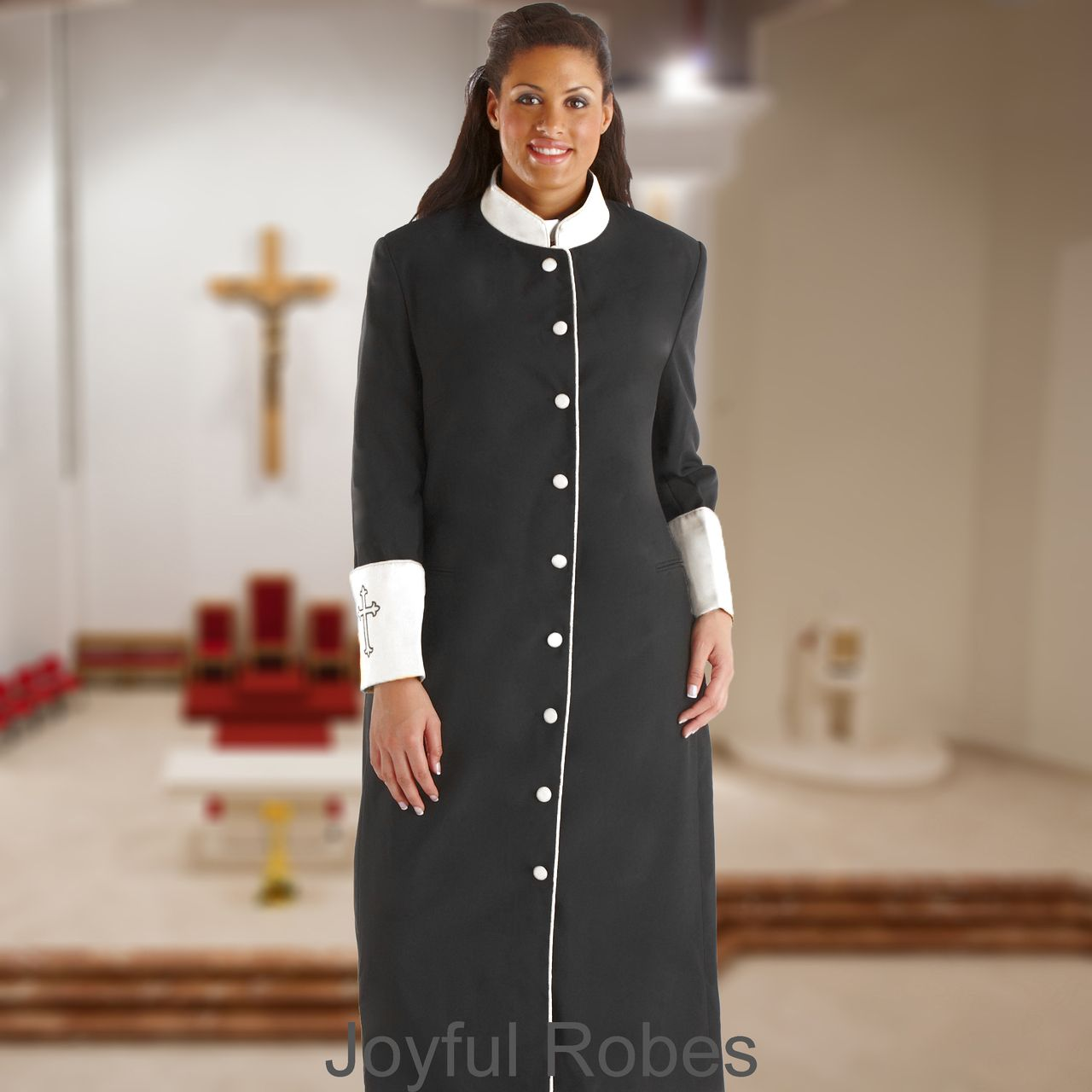 305 W. Women's Clergy/Pastor Robe - Black/White Cuff