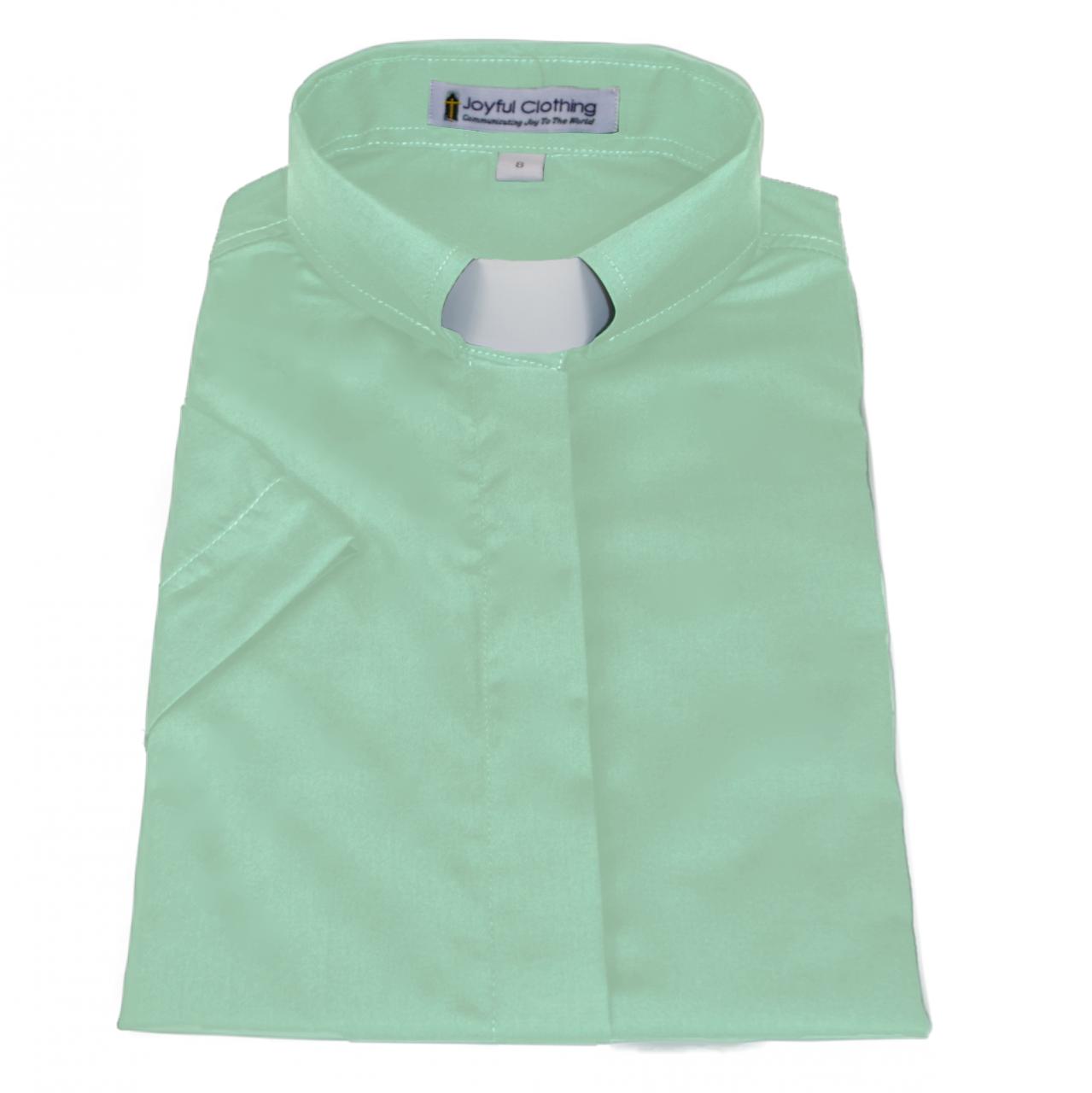 568. Women's Short-Sleeve Tab-Collar Clergy Shirt - Mint Green