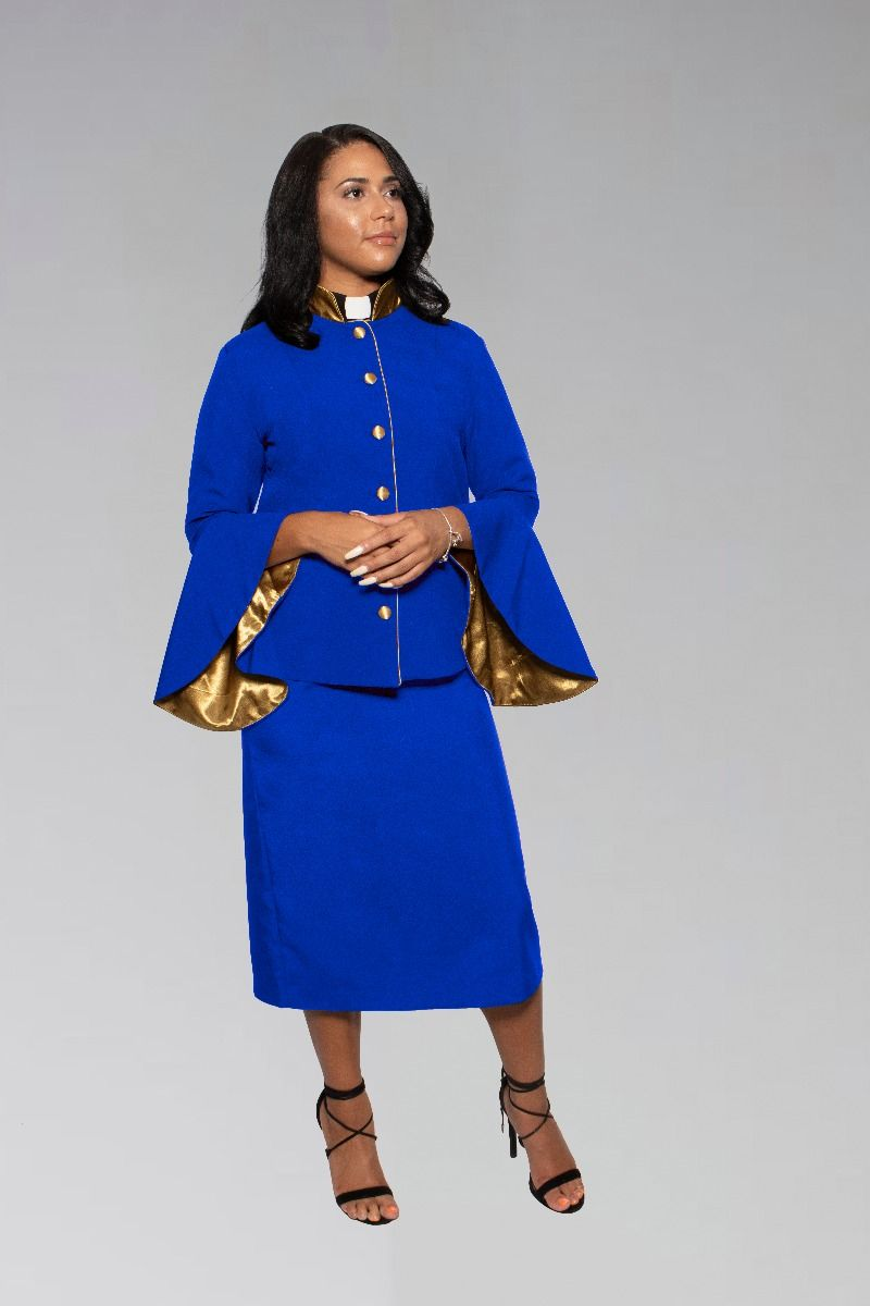 Ladies Pastor Clergy Suit in Royal Blue with Gold Flared Sleeves