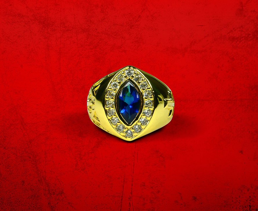 Womens Premium Clergy Ring with Royal Stone - Gold w/ Royal