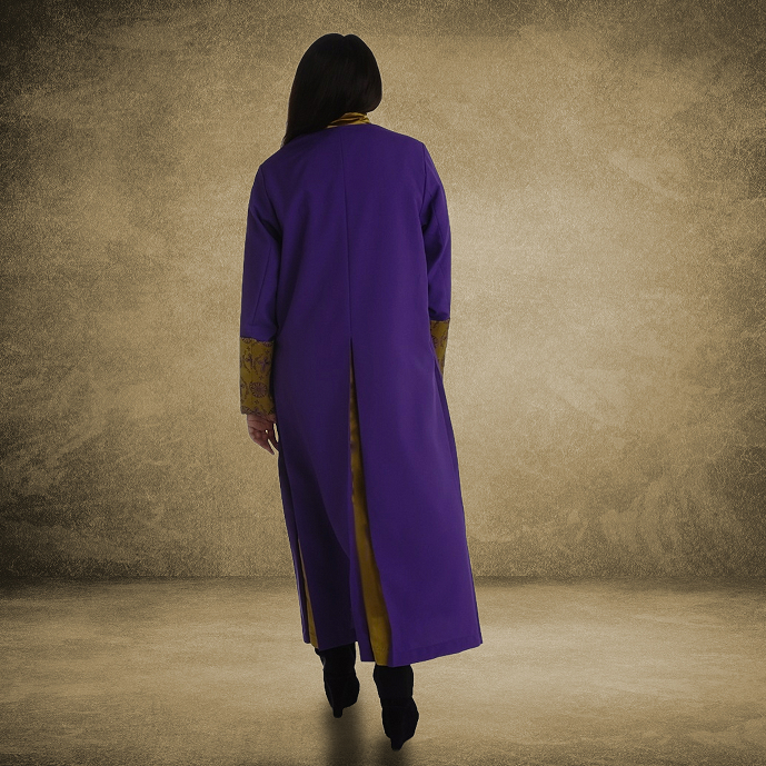 812 W. Women's Premium Clergy/Pastor Robe - Purple/Gold with Fancy Pleats