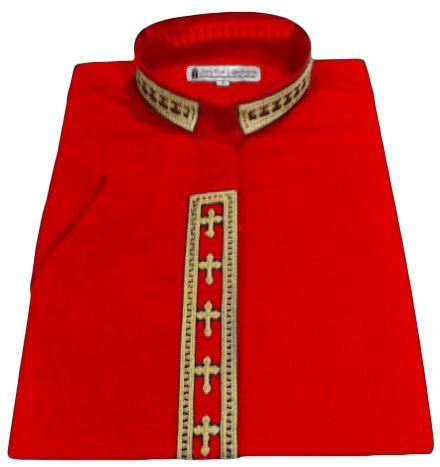 769. Women's Short-Sleeve Clergy Shirt With Fine Embroidery - Red/Gold