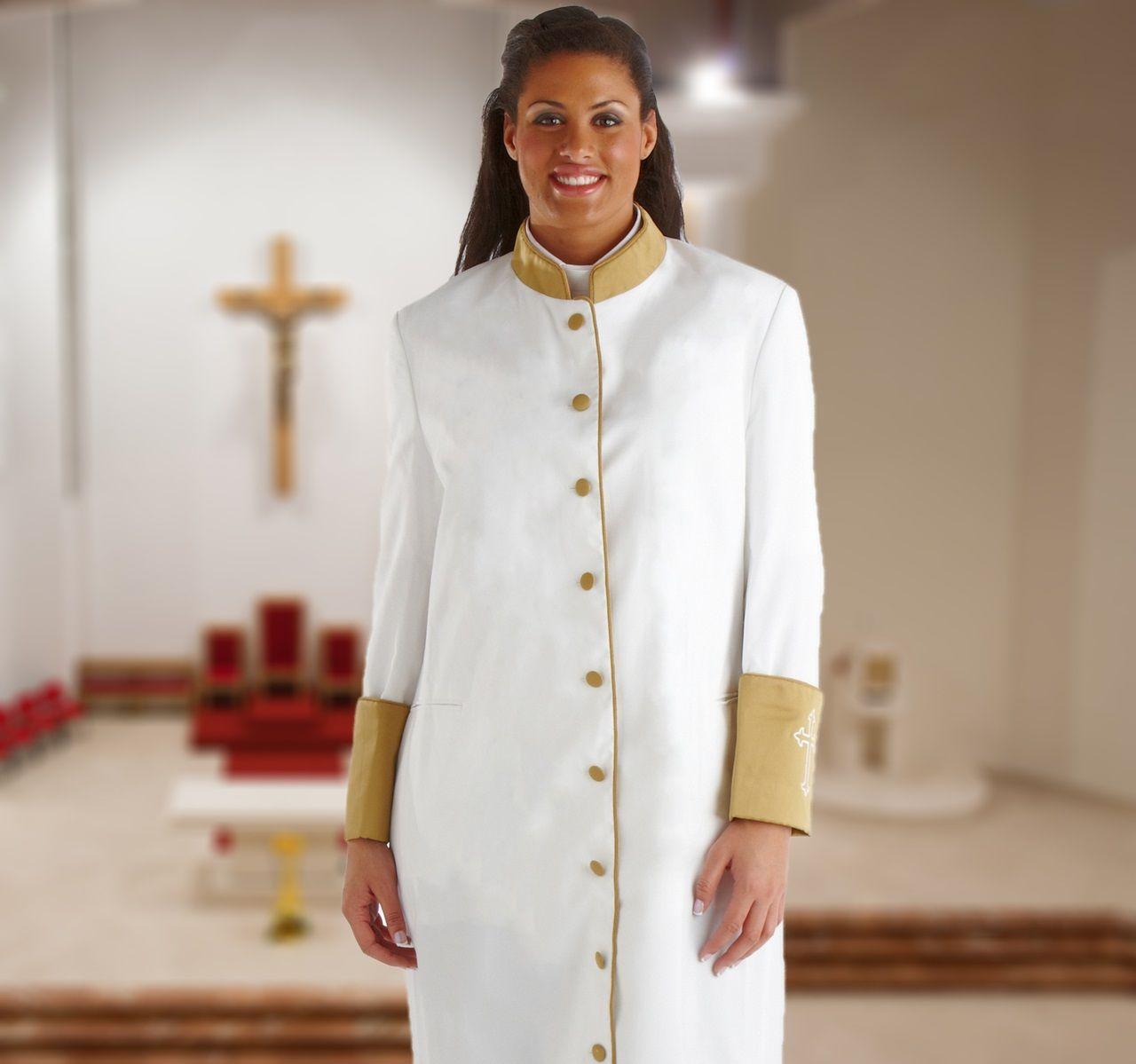 Womens White & Gold Cassock Clergy Robe