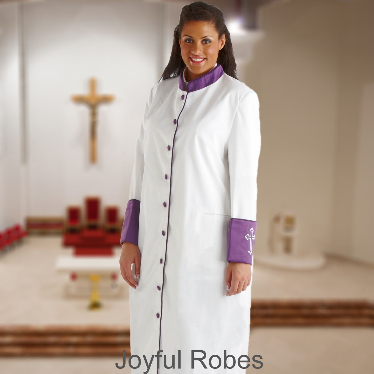 306 W. Women's Clergy/Pastor Robe - White/Purple Cuff