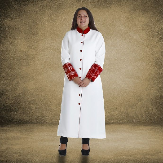 813 W. Women's Premium Clergy/Pastor Robe - White/Red with Fancy Pleats