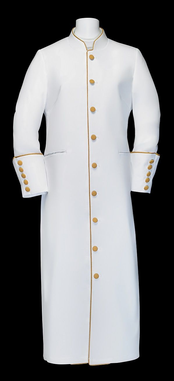 163 W. Ladies Clergy/Pastor Robe - White/Gold Trim