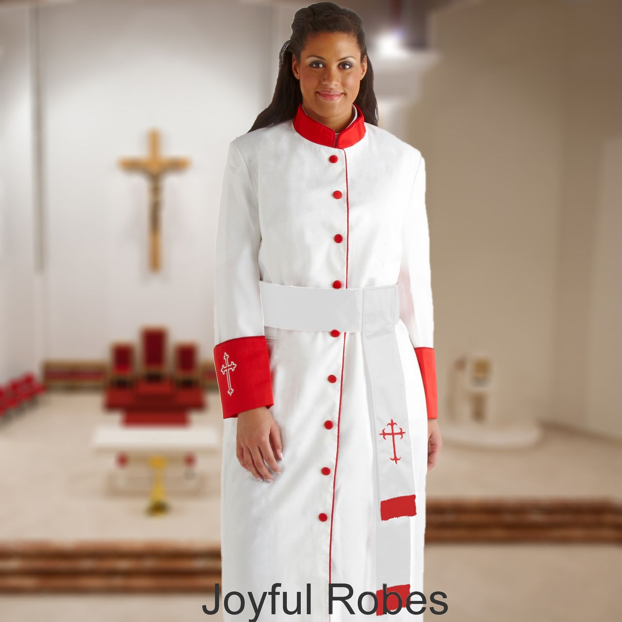 355 W. Women's Pastor/Clergy Robe - White/Red Cuff Matching Cincture Set